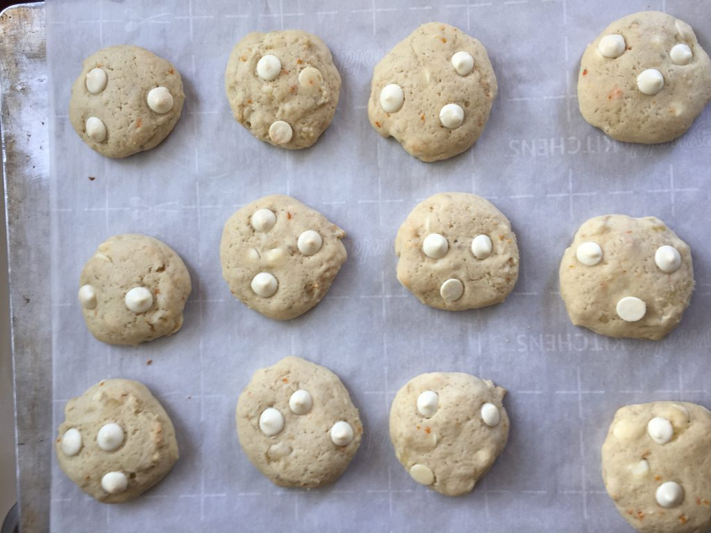 Baked Tropical fruit cookies with white chocolate chips