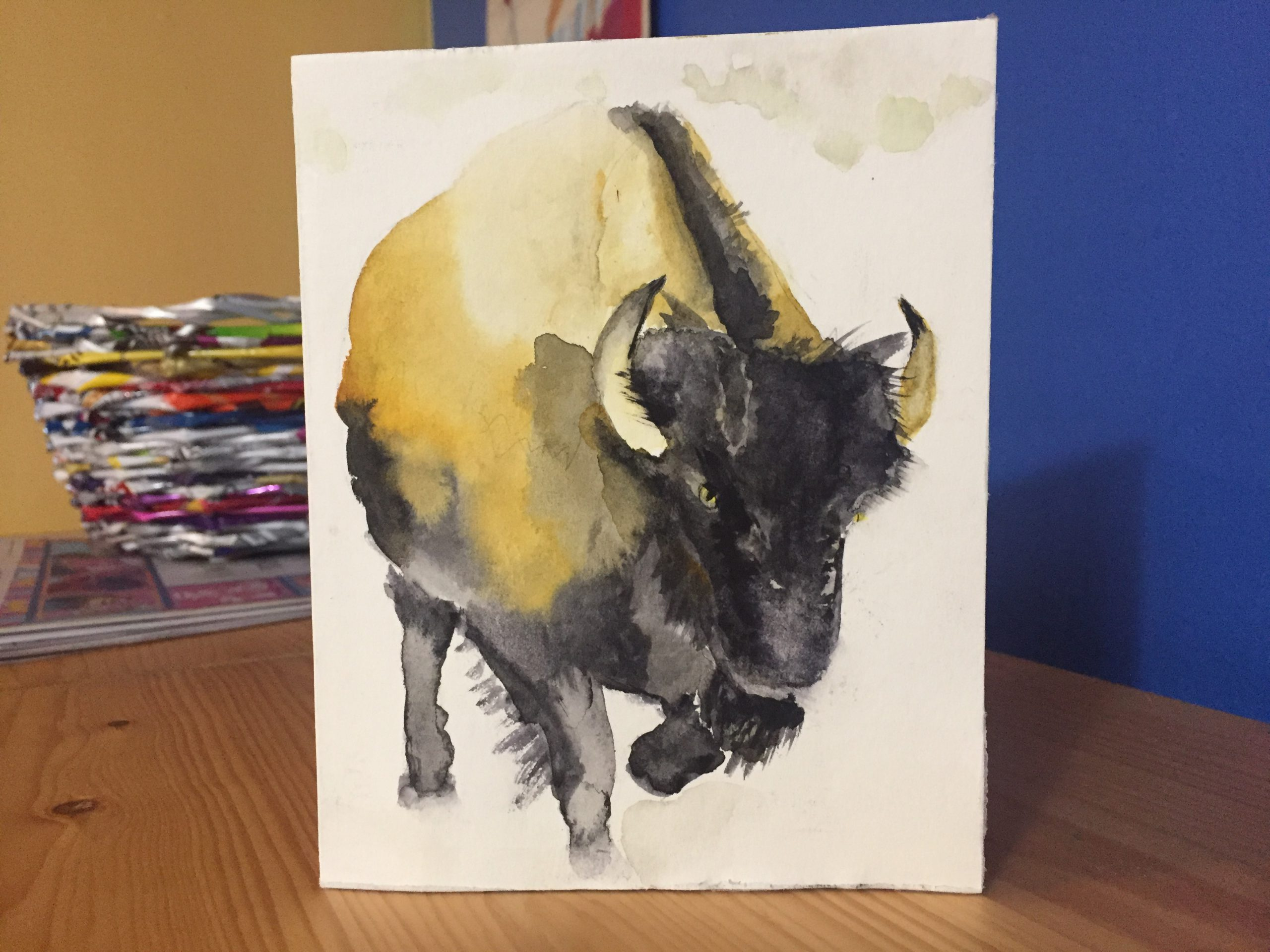 Wet in Wet Watercolor Tutorial: Bison in Snow