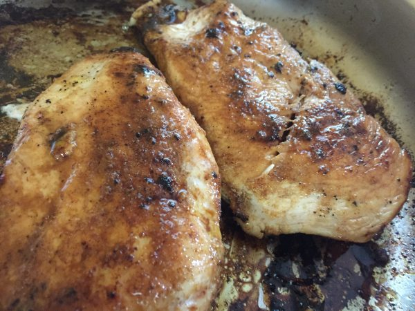 caramelized chicken breast for chicken and pesto